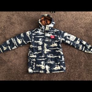Navy North Face winter jacket